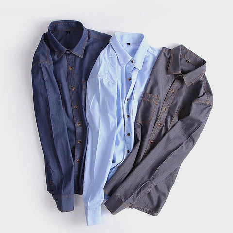 Autumn Jeans Shirt Men Blouse Slim Fit Vintage Style Chambray Shirt Male Long Sleeve Cotton Denim Shirts Casual