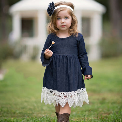 Toddler Infant Baby Girls Denim Flare Sleeve Dress Lace Splice Sundress Clothes for birthday baby girl dress Vestido Infanti