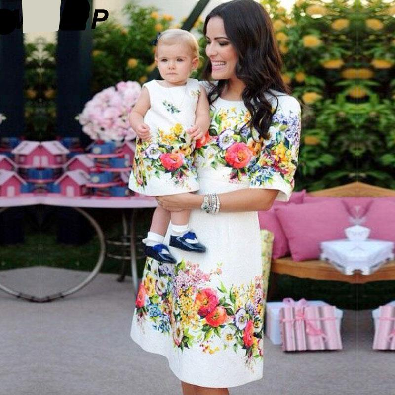 7e9880c07 mom and daughter dresses family matching outfits floral print ...