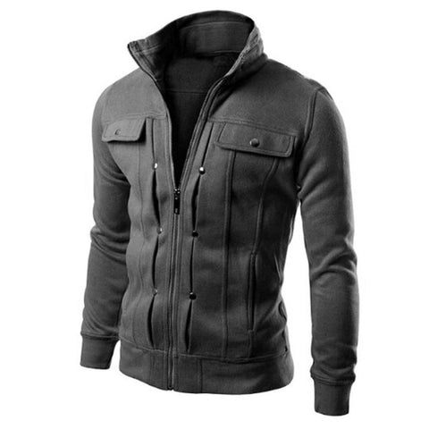 Fashion Mens Warm Lapel Coat Jacket Autumn Winter Long Sleeve Zipper Male Coat Mountainskin M-3XL Plus Size Jy27