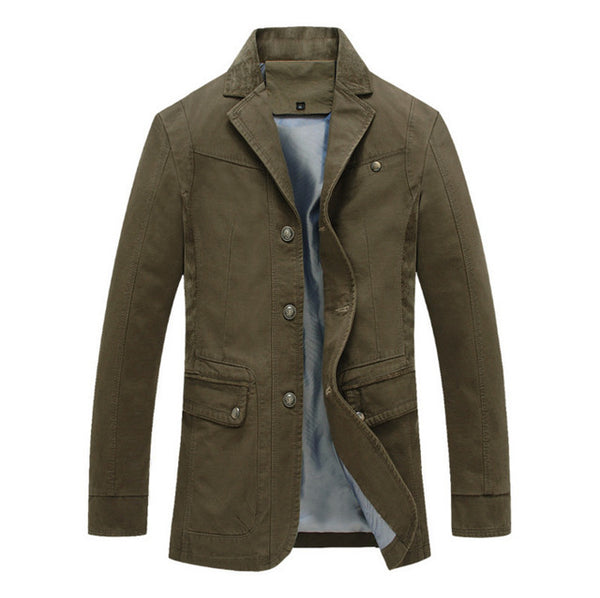 New Design Trench Coat Men Autumn Cotton Slim Overcoat High quality fashion Men's windbreaker jackets Army Green Black