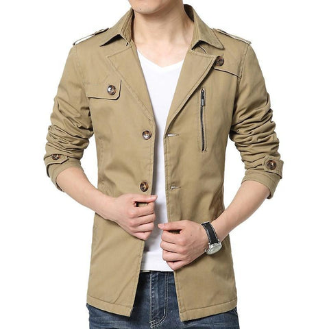 New Design Trench Coat Men 2016 New Autumn Winter Fashion Men Slim Fit Single Breasted Windbreaker Jacket Men Size free shipping