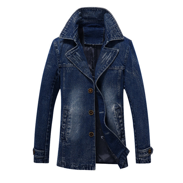 Fashion Mens Denim Trench Coat Extended Cotton Slim fit Coat Blue Black Business Parkas for Male YC1126