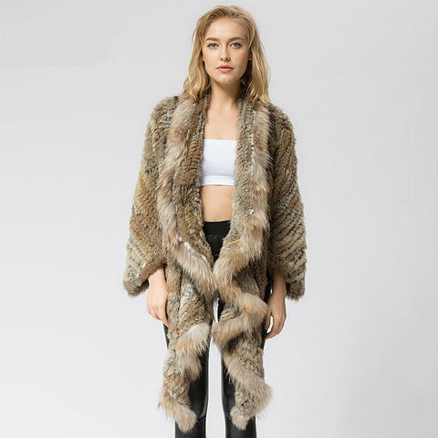 Knitted knit new real rabbit fur coat overcoat jacket women's winter warm genuine fur coat with raccoon fur collar
