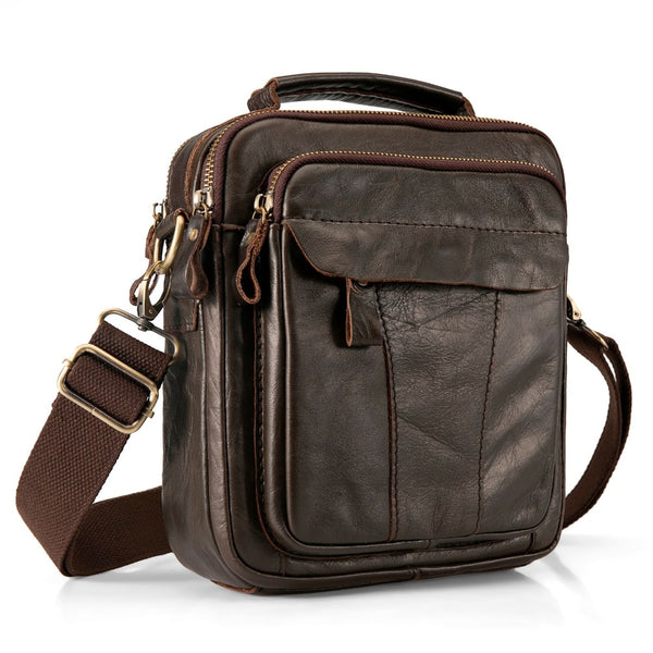 "Quality Leather Male Casual Design Shoulder Messenger bag Cowhide Fashion Cross-body Bag 8"" Tablet Tote Mochila Satchel bag 149"