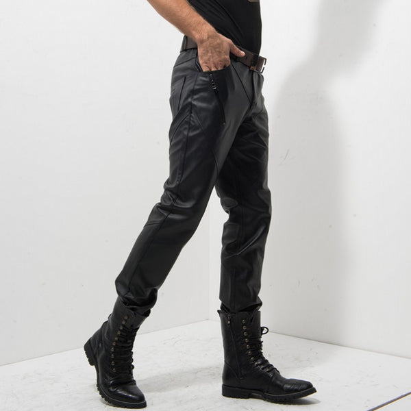 Italian Men Genuine Leather Rock Stage Show Skinny Pants Motor Biker Pantalon Homme Zipper Fashion New Slim Male Trousers