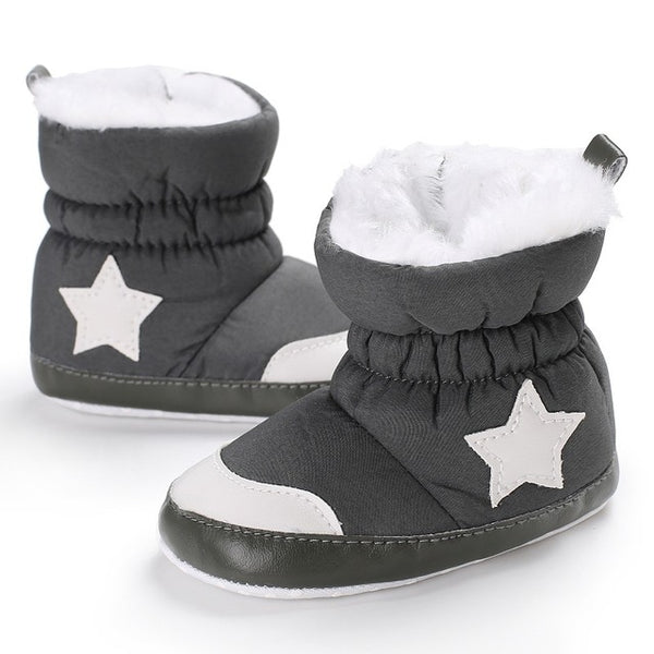 Autumn Winter Baby Casual Shoes Solid Star Pattern Sneakers Kids Boys Girls Shoes Warm Cute Soft Children Shoes Plus Cashmere