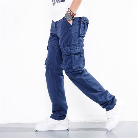 Men'S Cargo Pant Casual Multi-Pocket Overall Male Large Long Baggy Large Trousers A5477
