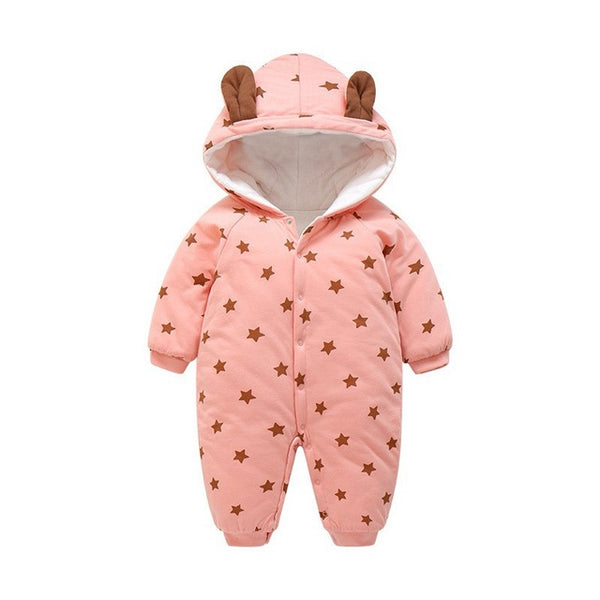 60-100cm Star Printing Baby Girl Winter Clothes Hooded Warm Newborn Romper Baby Costume Christmas Costume