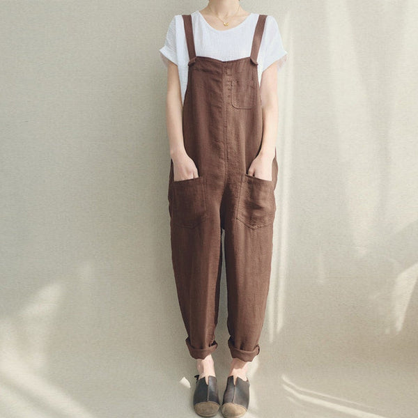 Summer Women Strappy Pockets Casual Solid Dungarees Cotton Linen Long Jumpsuits Loose Bib Overalls Rompers Plus Size