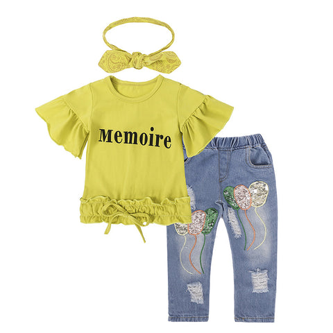 New 3pcs Children Clothes Set Fashion T-shirt + Denim Pants + Headband Autumn Clothing Sets For Girls Jeans Crianca Roupas