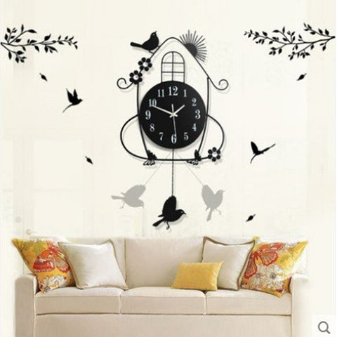 Fashion wrought iron metal bird electronic wall clock home design decor for living room,Free shipping.