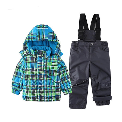 Snowsuit Boy Ski set Outdoor Winter spring autumn Warm Snow Suit waterproof windproof padded European Size hooded