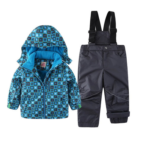 Snowsuit Boy Ski set Outdoor Winter spring autumn Warm Snow Suit waterproof windproof padded European Size plaid