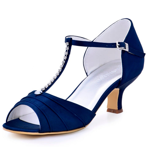 Shoes Woman Low Heel T-Strap Bridal Wedding sandals summer Satin Ladies Evening Party Pumps Navy Blue Green Teal Red EL-035