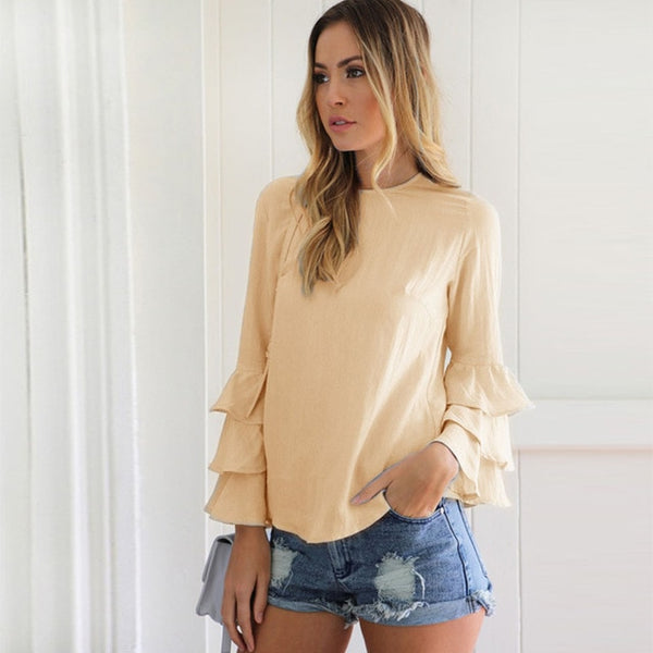 Women Solid O Neck Long Sleeve Butterfly Sleeve Shirts Fashion Casual Street Wear Blouse