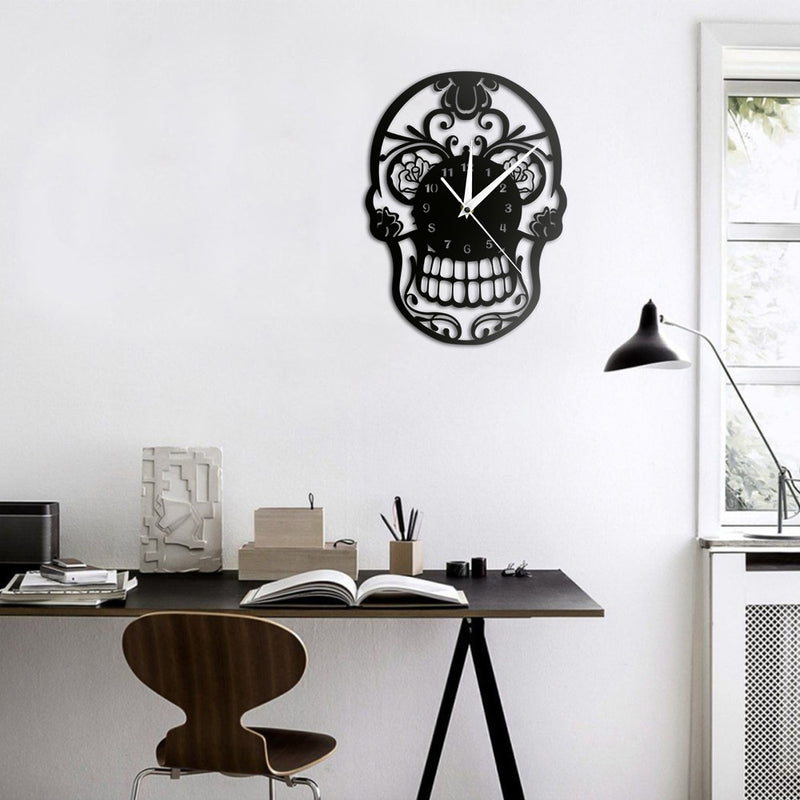 Day of the Dead Sugar Skull Wall Clock Mexican Skull Dia de Muertos Wall Clock Floral Candy Skull Decorative Hanging Wall Watch