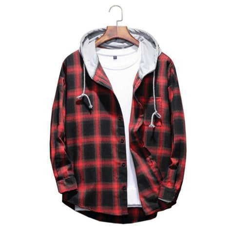men's winter thick hooded shirt./Men's fashion business casual long sleeve shirt.