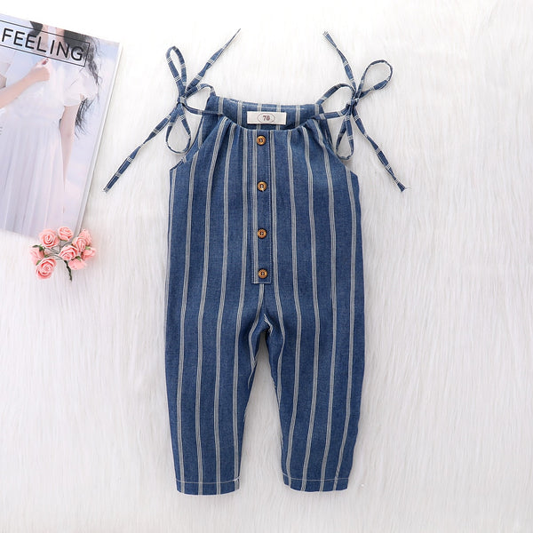 Baby Clothes Girl Summer Strap Rompers White Stripes Print Toddler Long Jumpsuits Navy Blue Infant Kids Sleeveless Overalls 1-4T