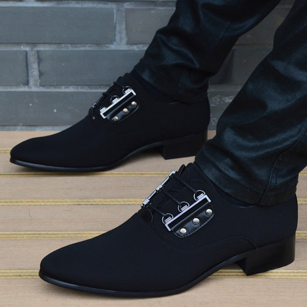 New Men Leather Shoes Breathable Lace Up Business Men Shoes High Quality Black  Pointed Toe Dress Shoes Flat Wedding Shoes