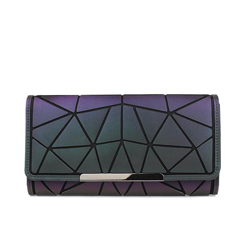 Design Women Long Wallets Purse Geometry Holographic Luminous Clutch Female Phone Bag Three Fold Card Holder Carteira