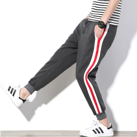 Men's Sweatpants Fashion Korean Wild Thick Two Side Track Long Trouser Slim Harem Pants Jogger Tracksuit Cotton 5XL
