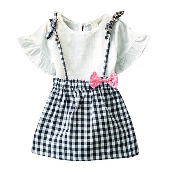 5bc74f3c09254 Summer baby girls 2PCS Toddler Kids Girls Bowknot Outfit Clothes ...