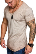 V-Neck Men t shirt Splicing Longline curved hem slim t-shirt men Cool summer tshirt Hip hop streetwear tops