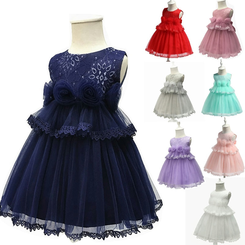c8b8ff474375 2018 Vintage rose flower Baby Girl Dress Baptism Dresses for Girls ...