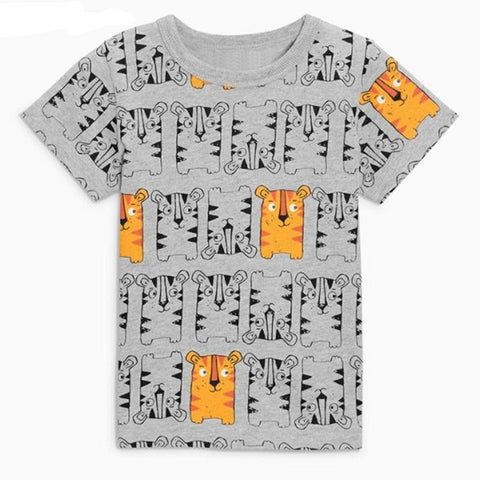 Summer baby boys clothes short sleeve tee tops tiger print Cotton brand gray t shirt