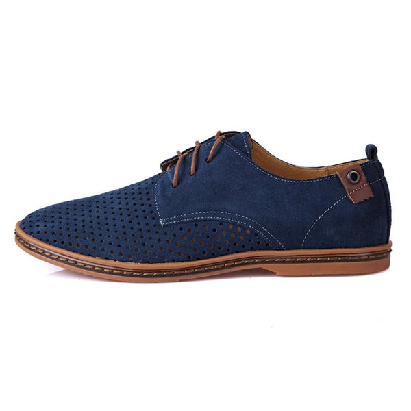 New Fashion Spring Summer Suede Men Flat Casual Shoes Flats Driver Footwear Breathable Lace Up Plus Size 39-48 RXM766
