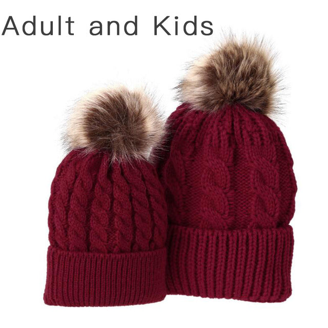 982ccb437daad Mom and Baby Matching Knitted Hats Warm Fleece Crochet Beanie Hats Win