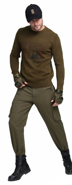 Winter New Men Sweater Male Loose Plus Size Sweater Military Casual Cotton Sweaters Outerwear