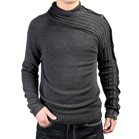 Men's Personality Asymmetric Sleeve Fashion Sweater Knitwear Male Sweaters For Bussiness Man Inside Coats Spring