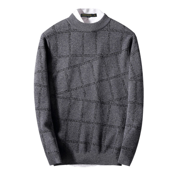 Winter pure wool thick wool plaid shirt korean men's round neck sweater men's casual sweater coat tide