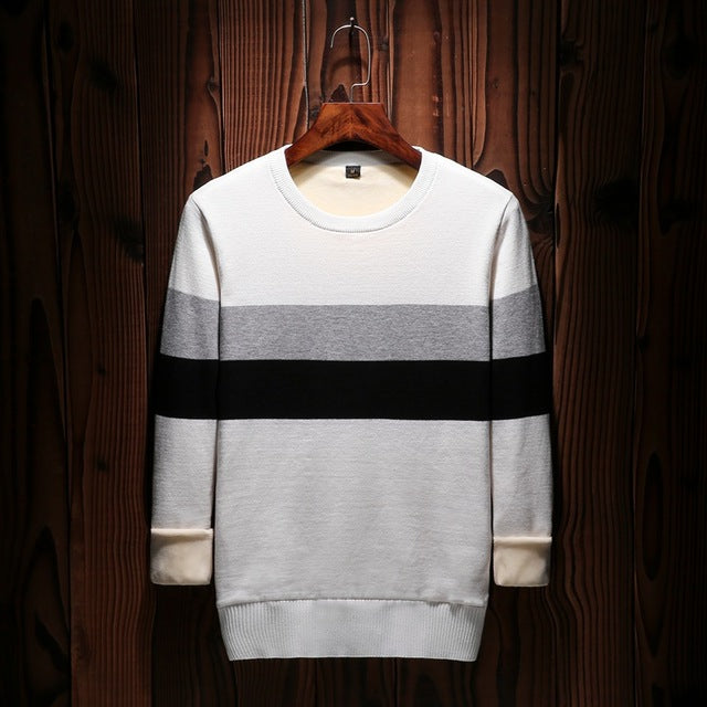 Knitted sweater for menFashion Casual Fit Knitting Mens Sweaters And Pullovers clothes striped cashmere winter sweater men