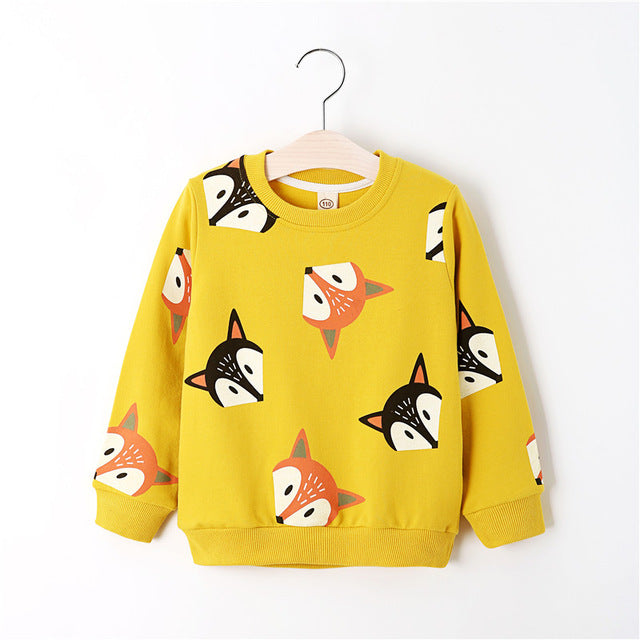 Boys Shirts Color Cartoon T-shirt For Girl Cotton Girls Tops Child Shirt Candy Color Kids Blouse School Baby Sweatshirt