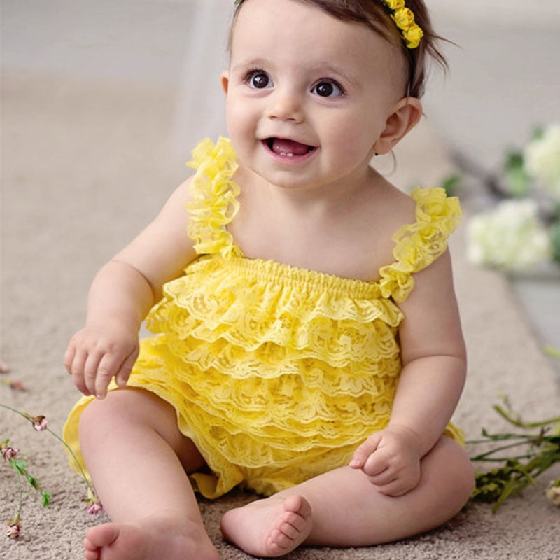 cb546075e Cute Girls Clothing Baby Yellow Lace Rompers Toddler Infant Jumpsuits  Ruffle Romper Baby Birthday Party Outfit ...