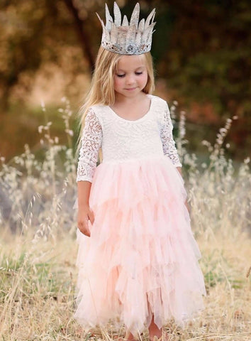 New Arrival Puffy Lace Pink Flower Girl Dresses Soft Tiered Tulle Ball Gown Pageant Dresses For Girls Communion Dresses