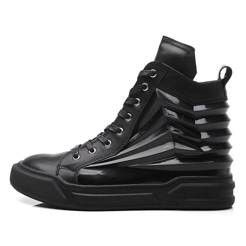 Men High Top Hip Hop Genuine Leather Casual Shoes Lace Up Thick Platform Flats Street Dancing Shoes Male Footwear