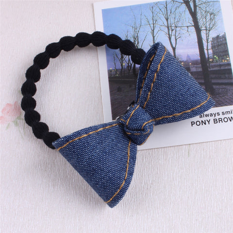 Version Denim Bowknot Children Hair Ropes Elastic Rubber Hair Band Girls Hair Accessories Baby Headwear Kids Headdress