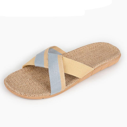 Men's Slippers Summer Linen Woven Breathable Home Indoor Non-slip Slippers 2018 New Hot Y-6072