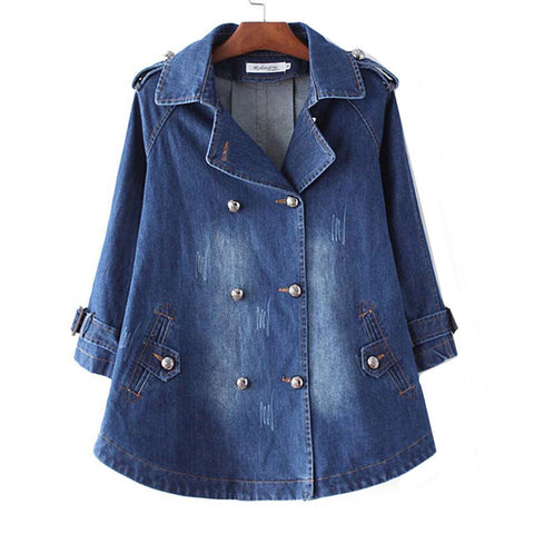 Loose Denim Cape Coat Female Jacket Double-Breasted Big Size Women Windbreaker A-Line Denim Basic Coats