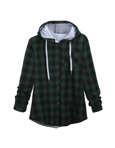 Hot Women Fashion Autumn Casual Long Sleeves Plaid Hooded Loose Cardigan Coat