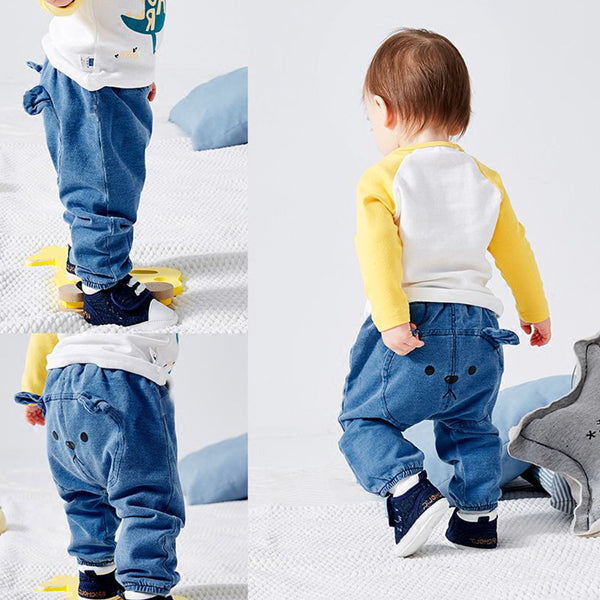 6-24 M Baby Boy Girl Jeans Denim PP Pants Newborn baby Harem Pantalones Jogger Toddler Kids Solid Trousers Children Clothes