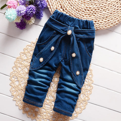 Newborn Baby Boy Girl Pants Spring Autumn Korean Casual Solid Middle Elastic Waist Jeans Clothing Children Trousers 4j016