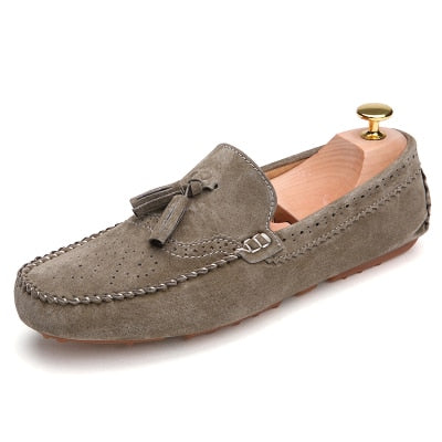 New  Spring Autumn Men Shoes Loafers Pig Suede Flats Genuine Leather Shoes Moccasins Casual Shoes Breathable Tassel