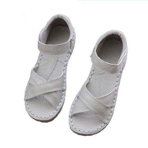 Genuine Leather Sandals,pure handmade white shoes,the retro art girl Flats shoes,Casual shoes