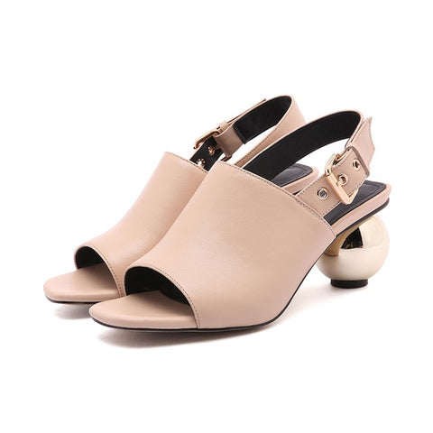 women sandals shoes  ladies spherical heel peep toe soft genuine leather woman black apricot heels sandals party