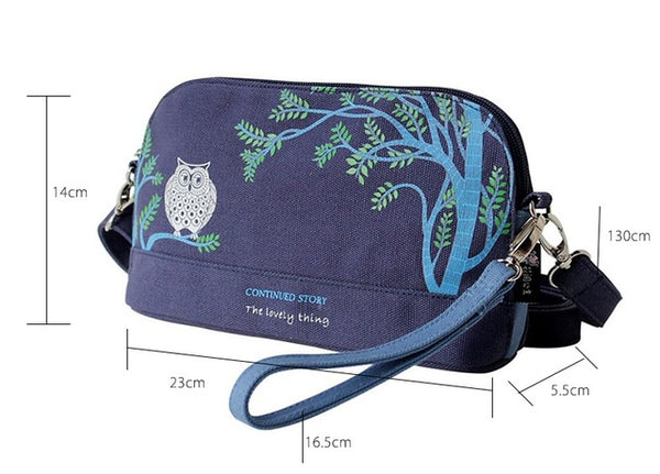 Flower Princess Owl Canvas Messenger Bags Women Shoulder Crossbody Bag Girl Ladies Bolsa Feminina Bolsos Mujer Sac a Main Femme